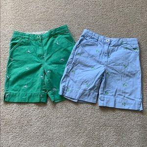 LL Bean 2 pair shorts girls 6x-7